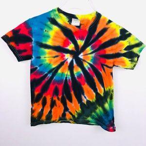 Psychedelic Hippie Tye Dye Youth Unisex Small Tee